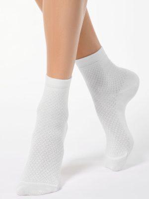 Șosete damă din bumbac cu striații romb, Conte Elegant Classic 061 model alb