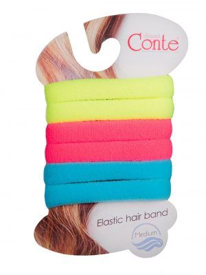 Elastic păr medium set 6 bucăți, Conte Elegant 16C-101CP Neon