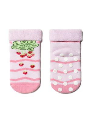 Șosete flaușate antiderapante cu model căpșuni, Conte Kids Sof-Tiki 472 roz deschis