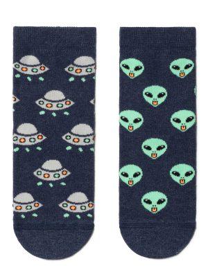 Șosete haioase cu extratereștri, Conte Kids Funny Legs 461 Navy