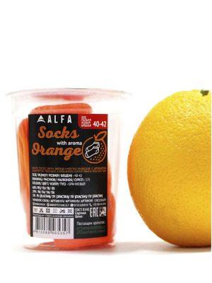 Șosete ultrascurte (anklet)cu striații din bumbac, Alfa Active 2362 Verde neon cu aroma portocala