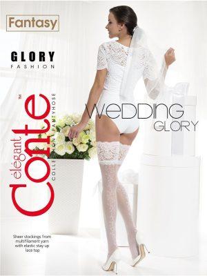 Ciorap bandă adezivă mireasă cu model floral, Fantasy Glory