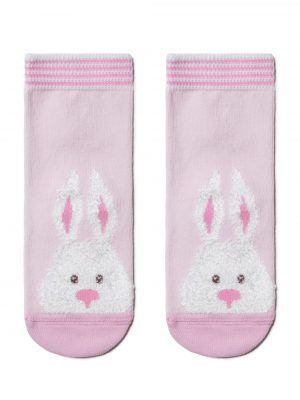 Șosete haioase cu model pufos iepuraș, Conte Kids Tip-Top 420 roz deschis