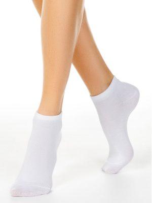 Șosete scurte (anklets) damă bumbac, Esli Classic 000 Model alb