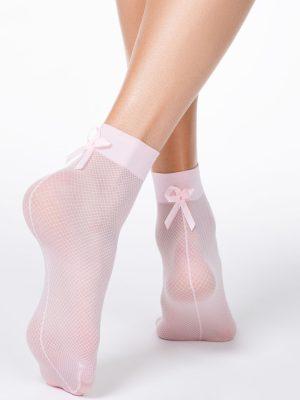 Șosete subțiri din poliamidă cu model plasă și fundiță, Conte Elegant Fantasy 18C-10CP Model roz deschis spate
