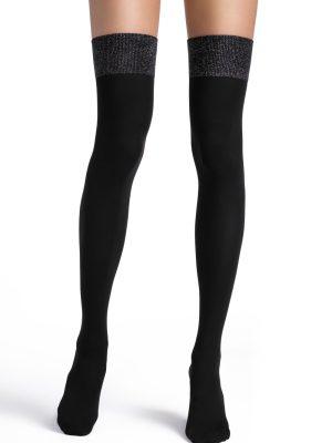 Șosete lungi peste genunchi din microfibră și lurex, Conte Trendy 180 DEN Model negru