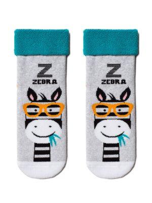 Șosete copii flaușate cu model Zebra, Conte Kids Sof-Tiki 436 Turcoaz inchi gri melanj