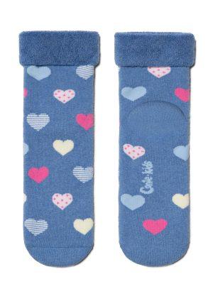 Șosete copii flaușate cu model inimioare, Conte Kids Sof-Tiki 437 Albastru