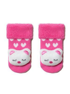 Șosete flaușate cu model pisicuță în relief, Conte Kids Sof-Tiki 402 model Roz