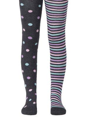 Ciorapi subțiri copii din bumbac cu model buline și dungi, Conte Kids Tip-Top 508 Model gri inchis
