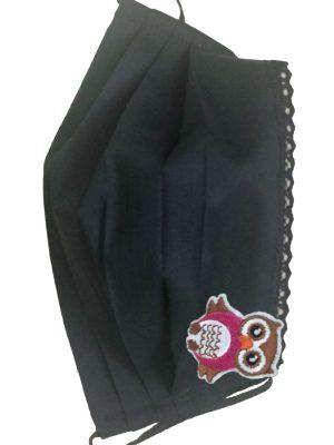 Mască de protecție reutilizabilă din 100% bumbac cu dantelă și bufniță conte