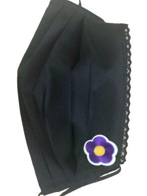 Mască de protecție reutilizabilă din 100% bumbac cu dantelă și floare mov conte