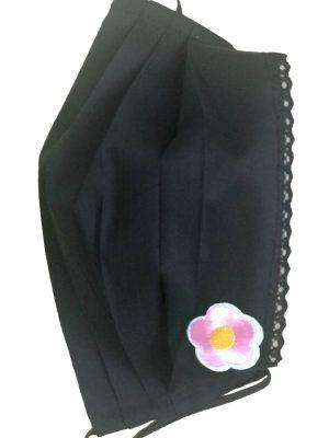 Mască de protecție reutilizabilă din 100% bumbac cu dantelă și floare roz conte
