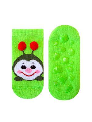 Șosete flaușate antiderapante cu model omidă cu pompon, Bchk Baby 3063-904 verde neon