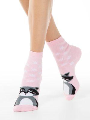 Șosete flaușate damă cu model raton, Esli Home Line 092 model roz
