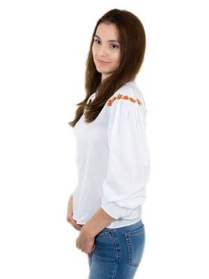 Bluză damă albă de inspirație etno, cu broderie, BB01