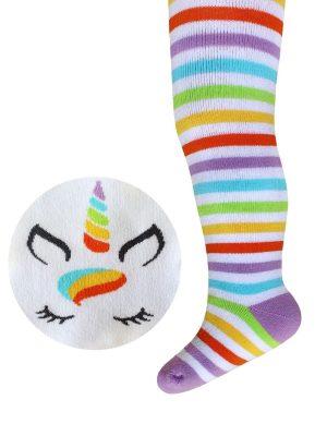 Ciorapi flaușați din bumbac, cu model Unicorn, Bchk Kids 3265-254 Alb