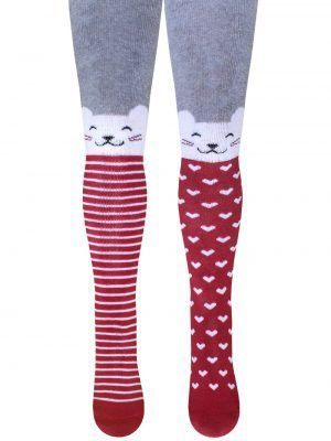 Ciorapi flaușați din bumbac, cu model pisicuță, Bchk Kids 3265-249 bordo
