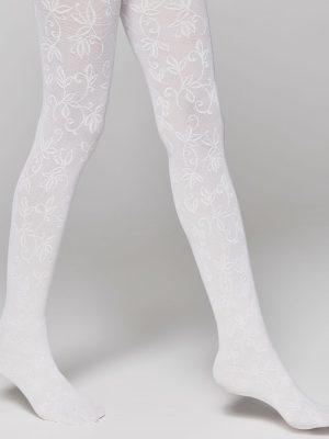 Ciorapi copii cu model floral ajurat, Ketty 40 Den Alb