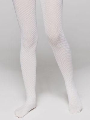Ciorapi copii subțiri cu model ajurat, Emily 40 Den Alb fata
