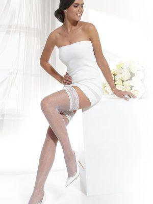Ciorap bandă adezivă pentru mireasă cu plasă, Fantasy Bellissima Model Bianco