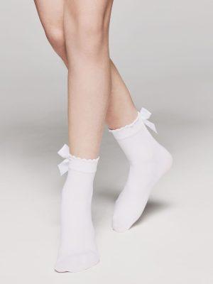 Șosete copii, cu fundiță decorativă, Lily model alb