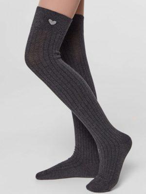 Șosete peste genunchi cu model inimă din lurex, Tip-Top 052 Gri